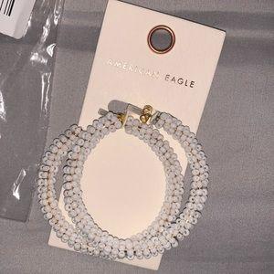 American Eagle white seed bead hoop earrings